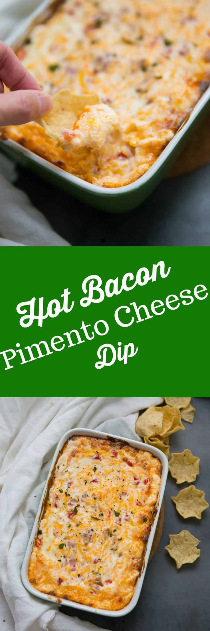 This pimento cheese dip takes a southern classic and makes it better! Bacon is added to homemade pimento cheese then the whole dip gets backed until the cheese is hot and melted. Gooey never looked so good! via @Lemonsforlulu