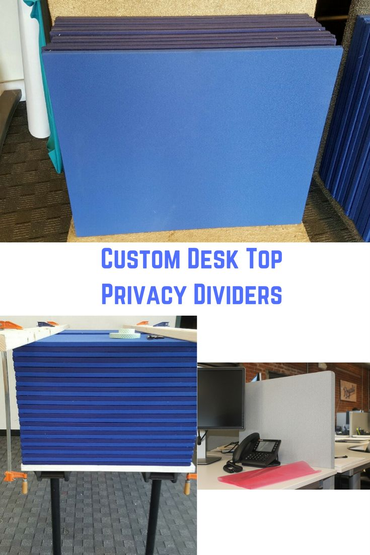 Distractions at the office a problem?  These custom desk top Dividers help with privacy and sound absorbency.  Customized in color, shape, & size.