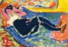Ernst Ludwig Kirchner (1880 - 1938)  Frau mit schwarzen Strümpfen (Die schwarze Grete) (Woman with black stockings - The black Grete), oil on board laid down on canvas  51 by 72cm.  20 1/8 by 28 3/8 in.  Painted in 1909.