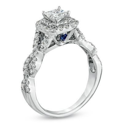 Vera Wang LOVE Collection 1 CT. T.W. Princess-Cut Diamond Double Frame Twist Engagement Ring in 14K White Gold - View All Rings - Zales HAS SOMETHING BLUE!