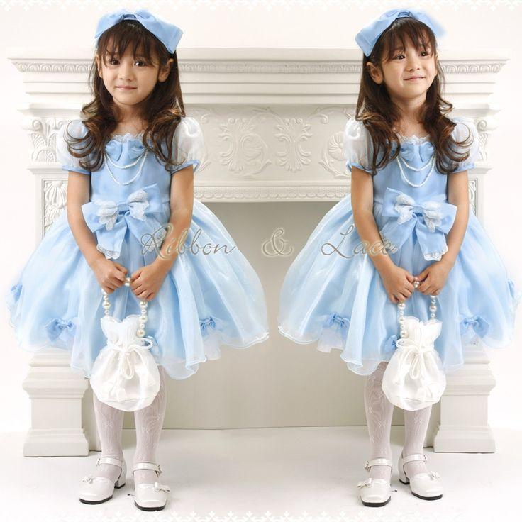 胸元のリボンは安全ピンでアレンジ自由ー♪  子供ドレス レースリボンのスクエア襟 プリンセスドレス  結婚式 発表会 kids dress