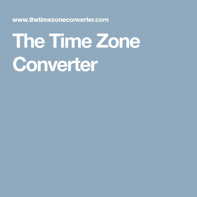 The Time Zone Converter