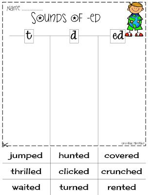 Worksheets Ed Worksheets 1000 ideas about inflectional endings on pinterest root words sounds of ed t d ela printables would be