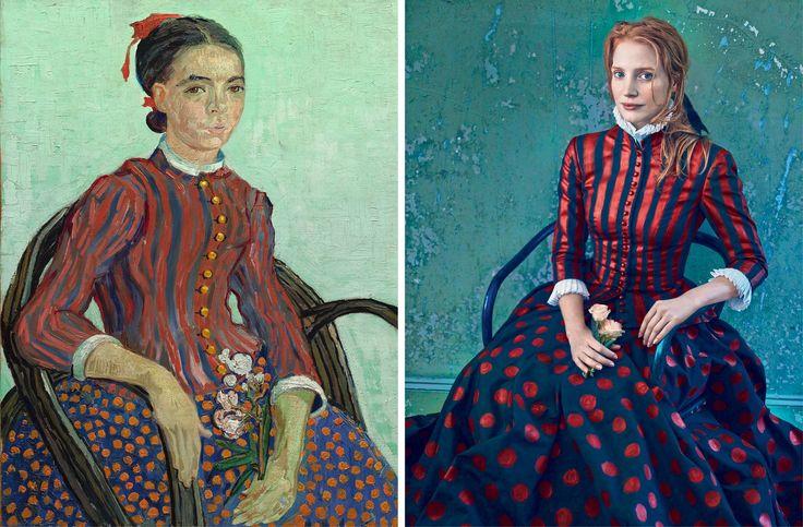 """Jessica Chastain fotografiada por Annie Leibovitz para la edición de VOGUE de diciembre del año 2013. En la imagen, recreando """"La Mousmé"""" (1888) de Vincent van Gogh."""