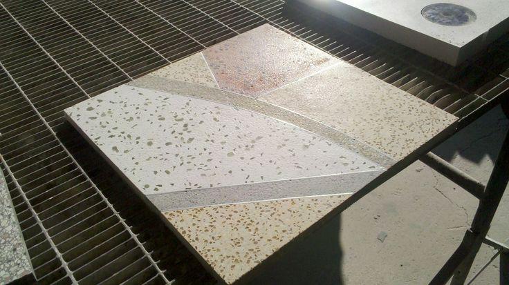 Bespoke #terrazzo #tile with aluminum inserts - #mattonella in #graniglia su misura inserti in alluminio. #madeinitaly #grandinetti #colors #artigianato #artistic #handmade #fattoamano