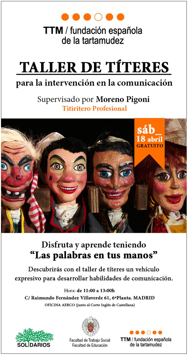 Cartel del Taller de Titeres celebrado en el año 2014 en Madrid