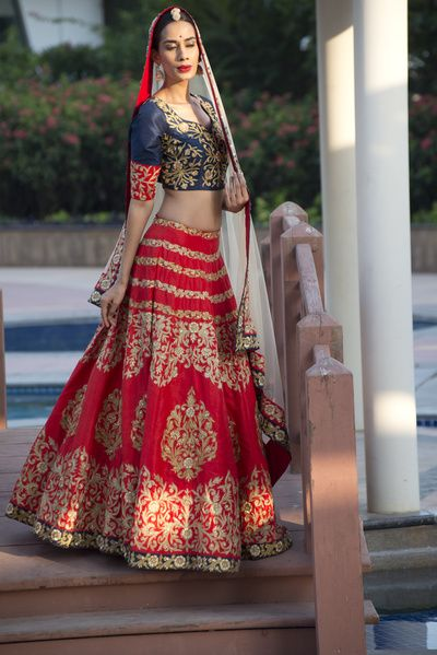 dark blue blouse, red lehenga, zari work