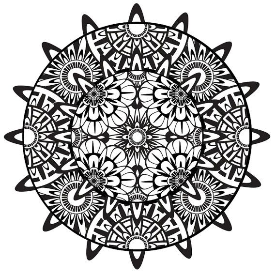 mandala coloring page mandala printable coloring page instant download psychedelic mandala. Black Bedroom Furniture Sets. Home Design Ideas