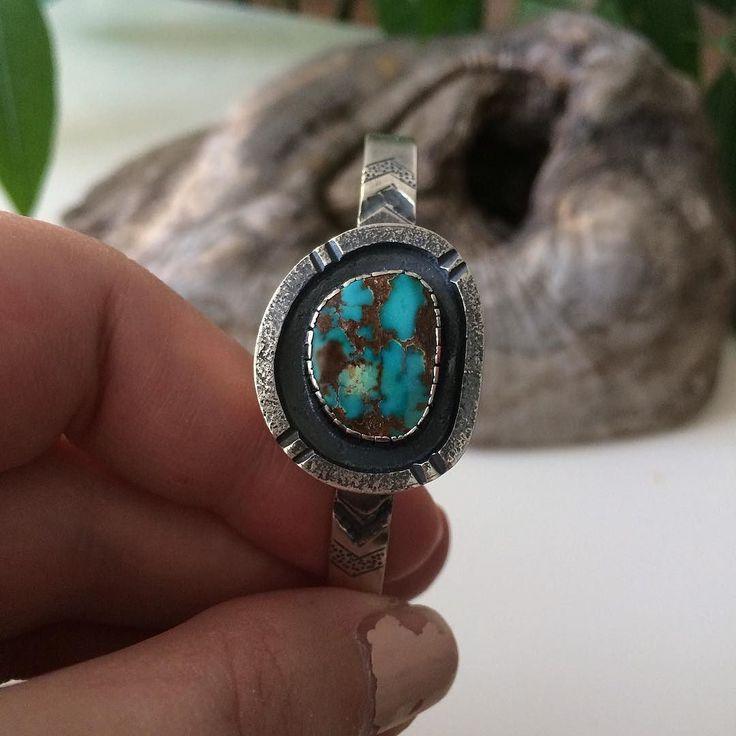 . Finished piece from last post. Would fit a small- medium wrist.  . . . . . . #silversmith #artist #instasmith #instajewelry #etsy #etsyseller #etsyca #handmadejewelry #handmade #sterlingsilver #xmasgift #navajoinspired #handcraftedjewelry #metalsmith #originalgift #minimalistjewelry #sterling #cuff #ladysmith #turquoisecuff #riojeweler #neshikotjewelry #bracelet #pilotmountain
