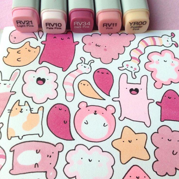 First Doodle in my new sketchbook ✏️✨ #pink #doodle  #pinku #かわいい #可愛い #sketchbook