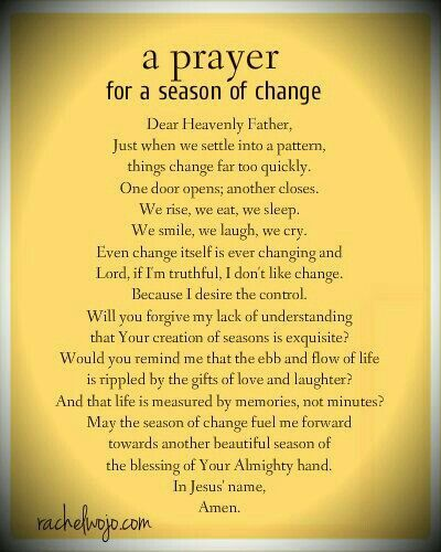 A season if change prayer
