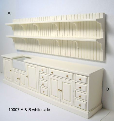 Jbm dollhouse miniature wood kitchen unit set furniture for Kitchen unit set