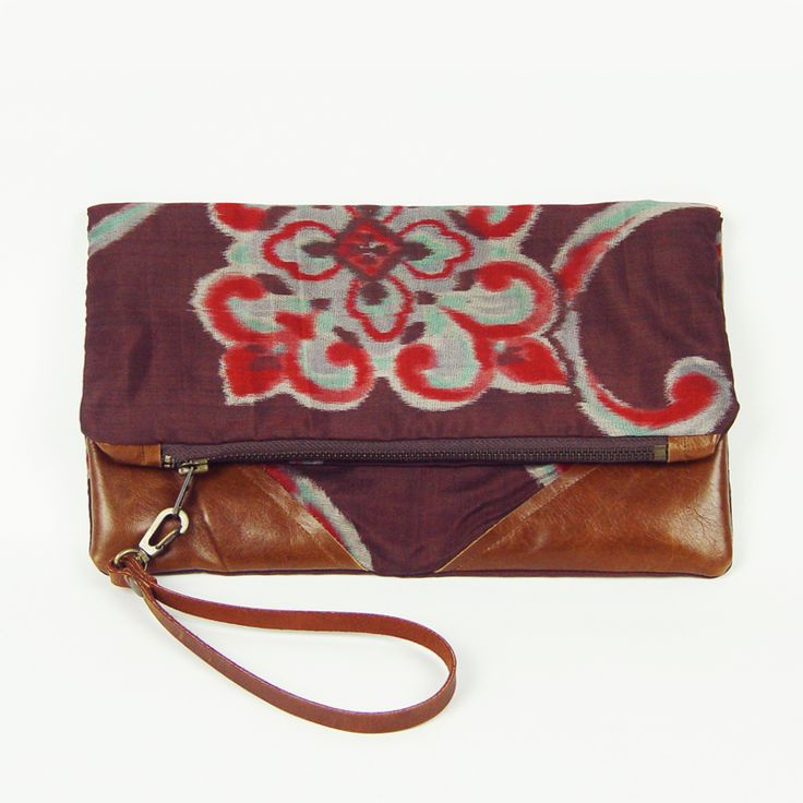 Oversized clutch bag, handmade from antique kimono fabric and cowhide. (http://www.ifoundlove.com.au/oversized-antique-kimono-clutch/)