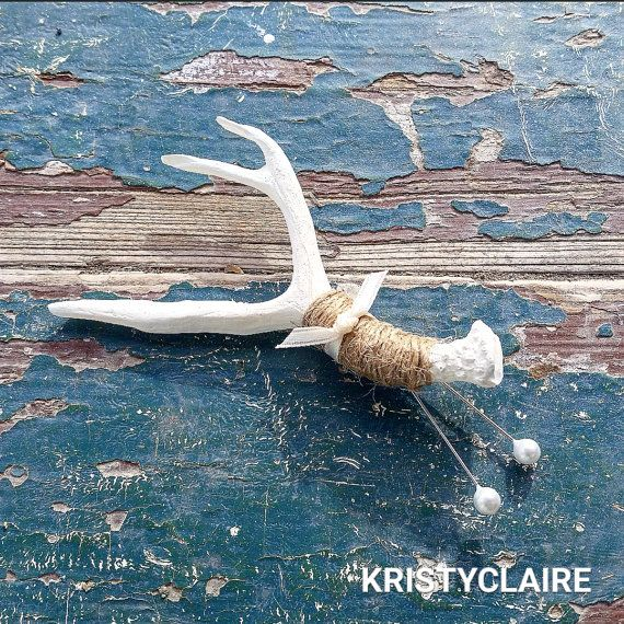 Mini Antler Boutonniere 1 by KRISTYCLAIRE on Etsy #wedding #fishing #boutonniere…
