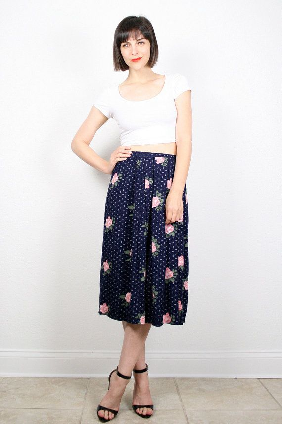 vintage navy blue midi skirt pink floral print high