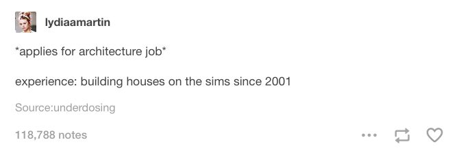 *applies for architecture job* Experience: building houses on <i>The Sims</i> since 2001.