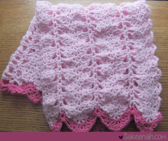 A Crocheted Pink Baby Girl Blanket Link To Free Pattern