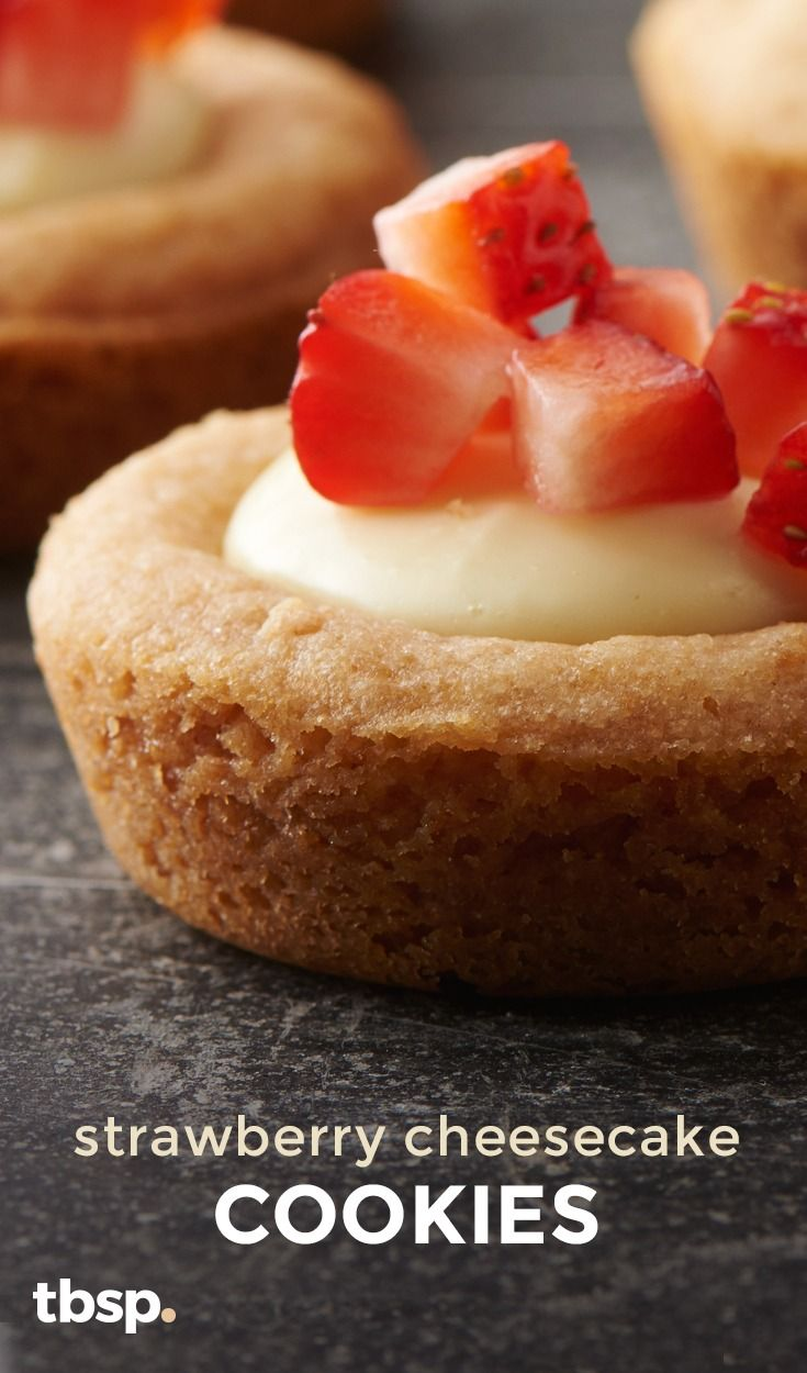 We turned regular sugar cookie mix into a graham-cookie dough, then baked in muffin tins to form mini crusts. Just add a dollop of creamy vanilla cheesecake, and top with fresh strawberries for a cookie creation no one will see coming.