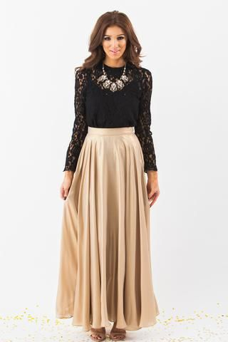 Amelia Gold Shimmer Maxi Skirt