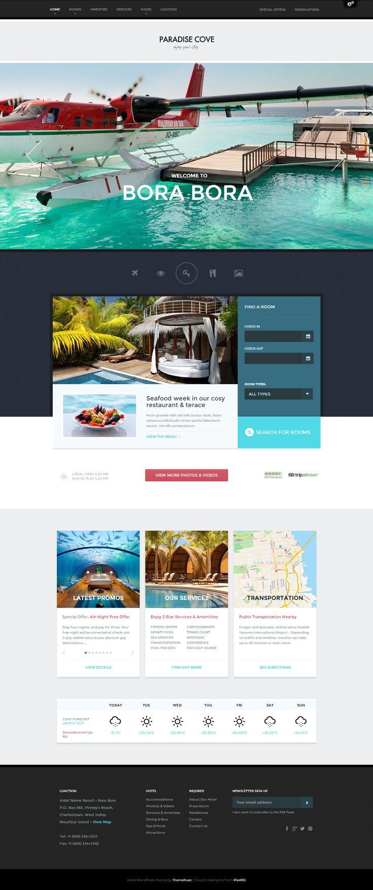 Cassandra cappello graphic design toronto - Paradise Cove Wordpress Hotel Theme Hotel Wordpress Webdesign