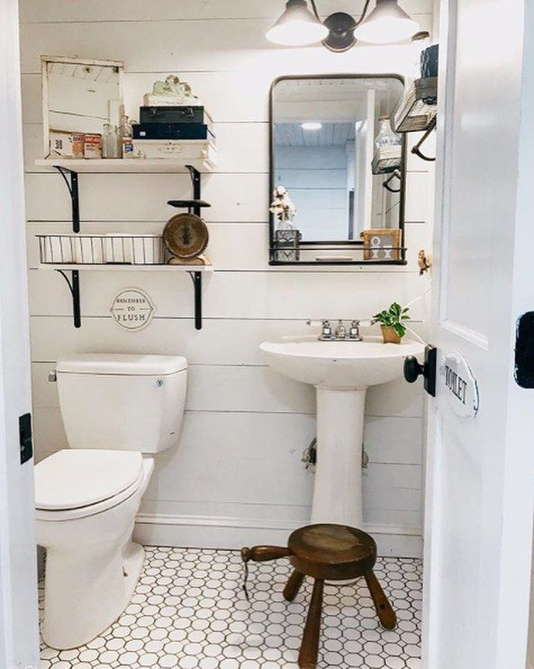 Here S Looking At A Fab Half Bath Filled With Charming Vintagestyle Farmhouse Fresh Vibes O Bathroom Farmhouse Style Mirror Wall Bathroom Rustic Bathrooms