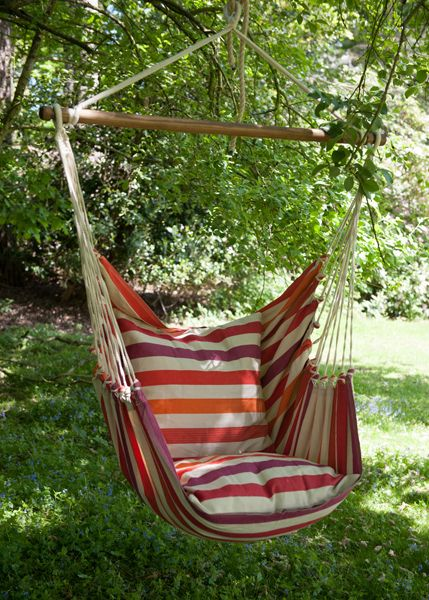 This swing hammock chair looks so inviting! Just add a cold drink and a good read!