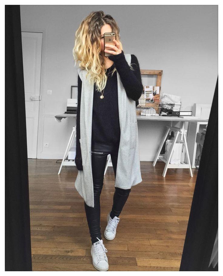 Comme un lundi...(un peu flou) veste #margauxlonnberg (Old) pull #americanvintage (Old) cuir Erin #eponymcreation sur @meleponym baskets #stansmith sur @adidasfr #ootd by meleponym