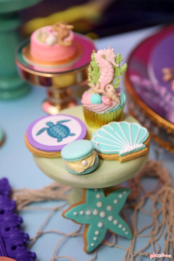 Under The Sea Cookies Sweets From A Magical Mermaid Birthday Party On Karas Ideas