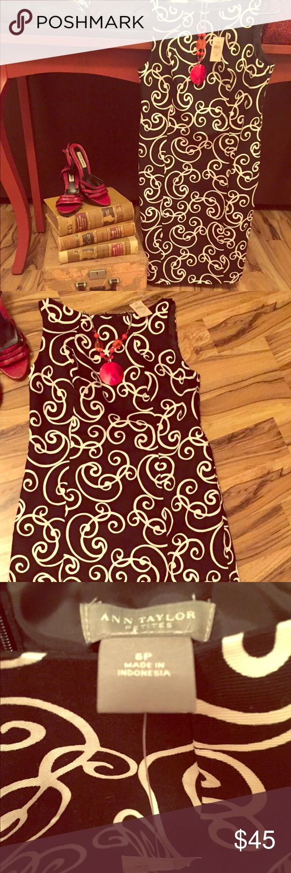 Ann Taylor Petites dress Beautiful Ann Taylor Petites dress; NWT; black and white swirl print; shell 100% cotton, lining 100% polyester; size 6P; pair with red earrings, necklace and shoes and what a cute Easter dress (shoes and necklace pictured are not for sale). Ann Taylor Dresses