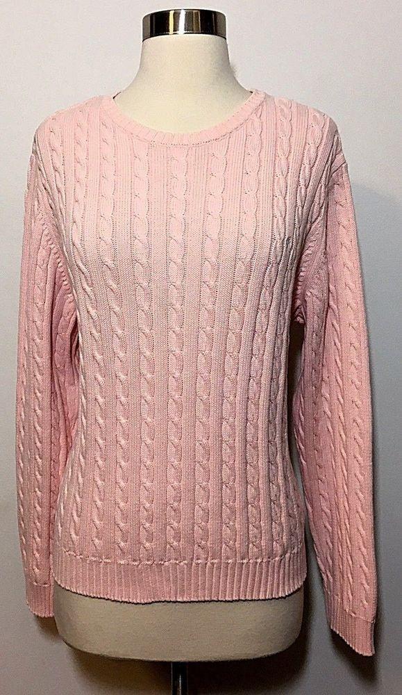 Vintage Light Pink Ralph Lauren 100 Cotton Cable Knit Sweater Women S Size Xl Laurenralphlauren Cotton Cable Knit Sweater Sweaters Cable Knit Sweater Womens