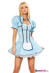 Alice in Wonderland costume...I would change the cardigan into a white cardigan w/o black ribbon and the apron wider with lace frills