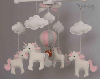Pink Aqua Baby Mobile Hot Air Balloon Nursery by sunshineandvodka