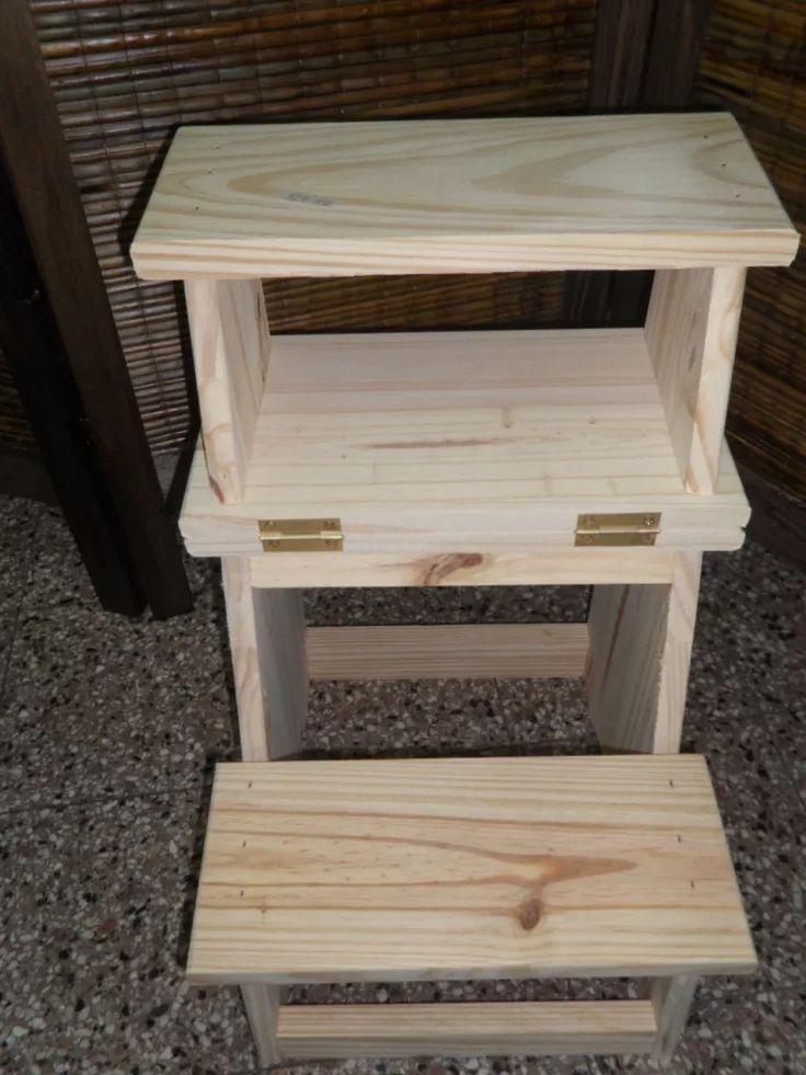 Escalera banco plegable de pino ideal para subir al for Escaleras de madera sencillas