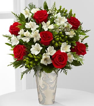 Season's Style Rose & Peruvian Lily Bouquet - 13 Stems - VASE INCLUDED