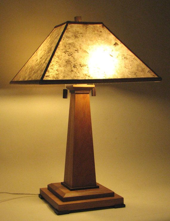 The 1915 Mission lamp is hand made from cherry by FranzGTKDesigns