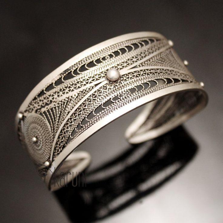 Bijoux Ethniques Orientaux Berbères Bracelet en Argent Massif Filigranes 02 Manchette