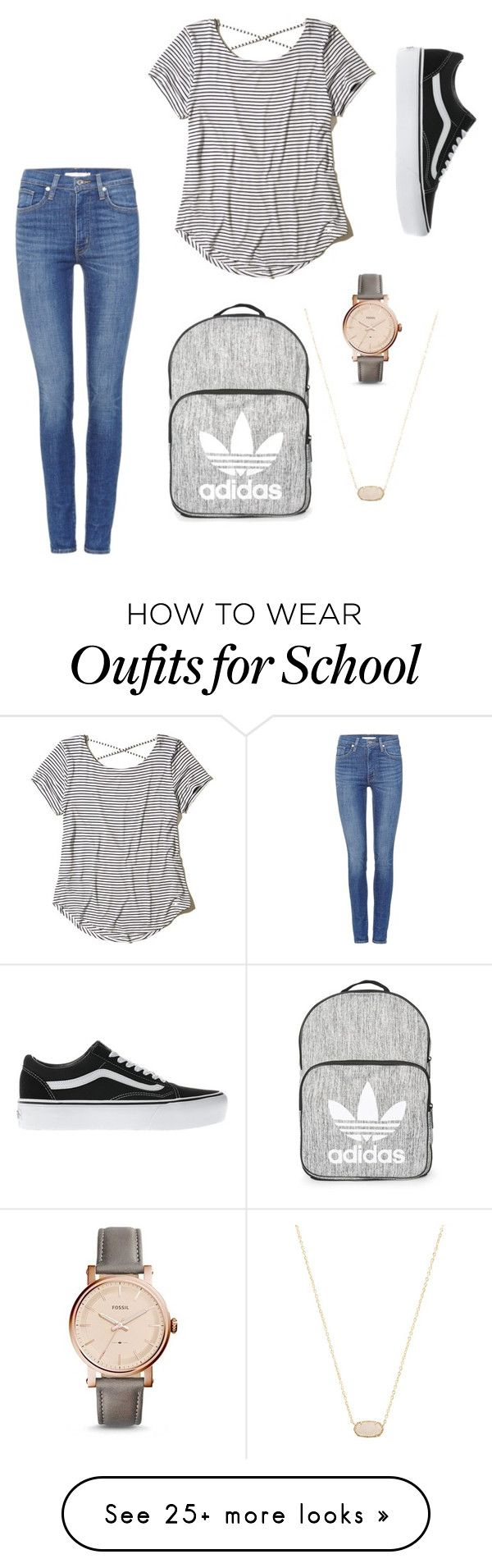 """""""school day"""" by sassyrockstar on Polyvore featuring Levi's, Hollister Co., Vans, Topshop, FOSSIL and Kendra Scott"""