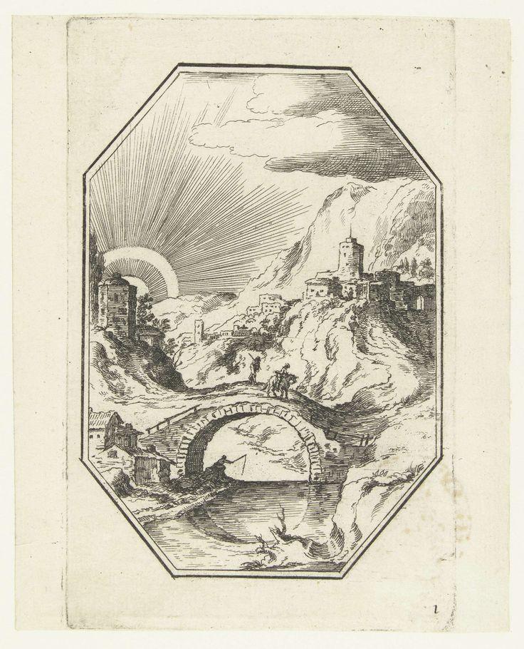 Paul Bril | Landschap met stenen brug in octagonaal kader, Paul Bril, Anonymous, 1582 - 1700 | Landschap met stenen brug in octagonaal kader, kopie naar prent van Paul Bril met voorstelling spiegelverkeerd weergegeven.
