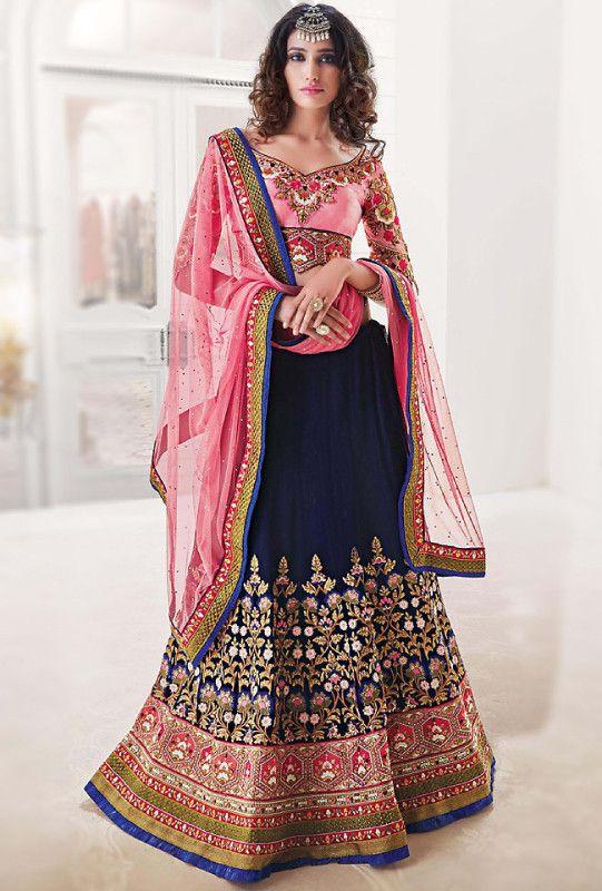 3db9eae867d2 Royal Blue and Pink Designer Bridal Lehenga - Desi Royale   wedded bliss    Designer bridal lehenga, Lehenga, Bridal lehenga choli