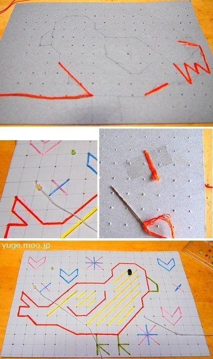 小学生紙刺繍