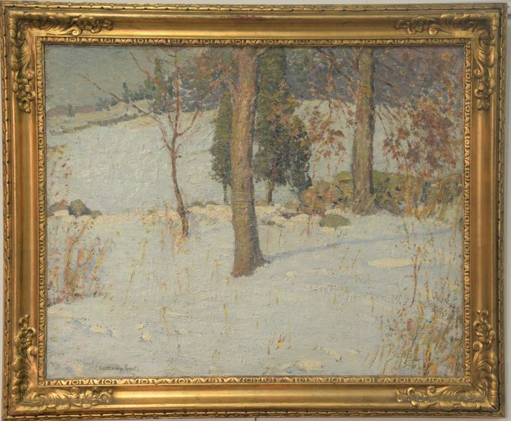 """Edward Gregory Smith (1880-1961) oil on canvas """"Old Fashioned Winter"""" signed lower left: Gregory Smith signed and titled on reverse: Gregory Smith, Old Fashioned Winter 24"""" x 30""""  ~ Realized Price $3,900.00    #nadeausauction"""