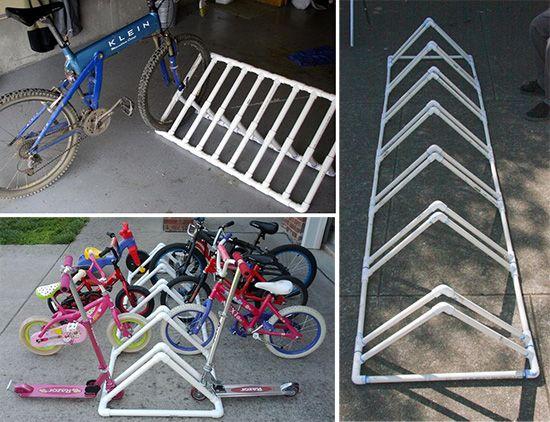 Пластиковая стоянка для велосипедов из труб пвх