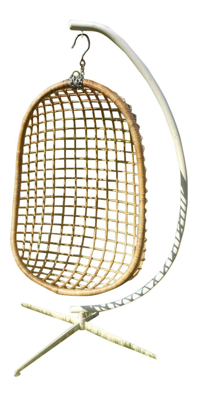 MidCentury Modern Rattan Hanging Egg Chair Chairish