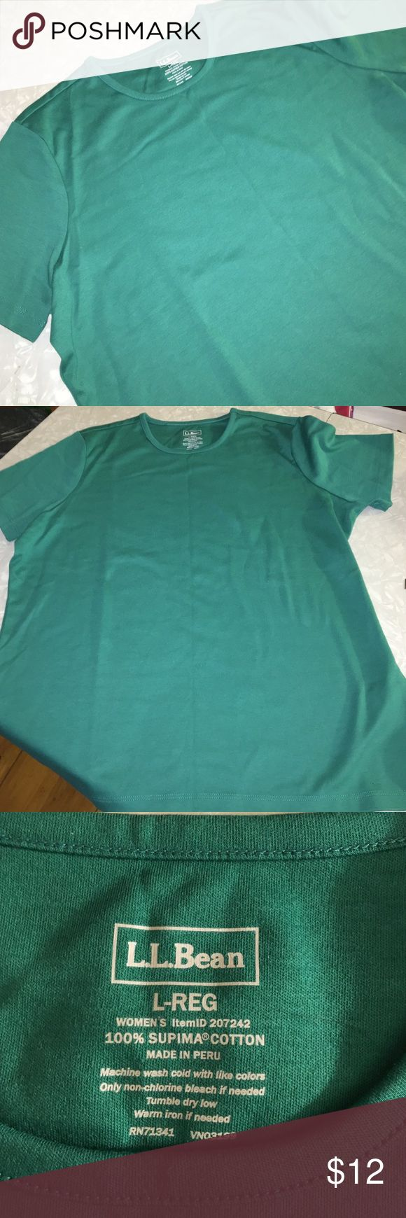 "NEW LLBean green short sleeve top large NWOT Green size large regular women's short-sleeved top. It is 100% supima cotton. Shoulder to shoulder it is 15-3/4"". Sleeve length is a hair over seven-1/2"". From Bottom of collar to bottom of shirt it is 24-1/4"". This is a nice fall color green. Excellent for layering! It looks wrinkled because it was a catalog order. Never even been washed! Best color picture is number four. LLBean Tops"