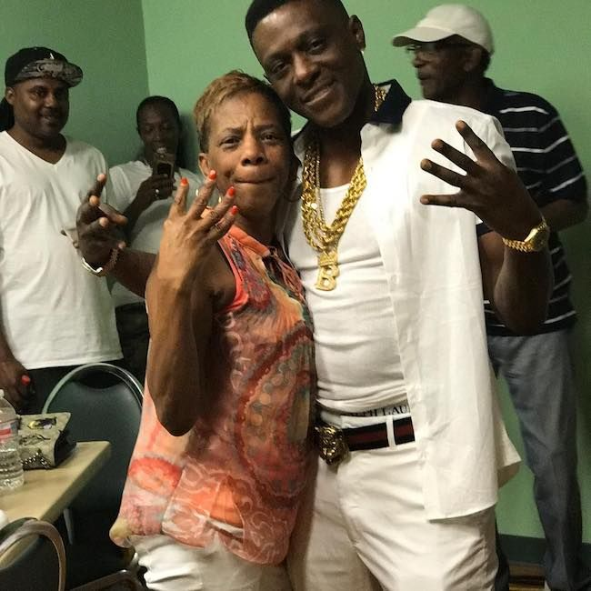 Boosie Badazz with his mother backstage right before his performance in May 2016...
