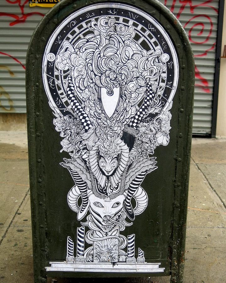 Harlequinade street art NYC  Curious Characters on NYC Streets, Part III: R. Robot, Jeromy Velasco, Malarky and Goldpeg, Harlenquinade, Sher...