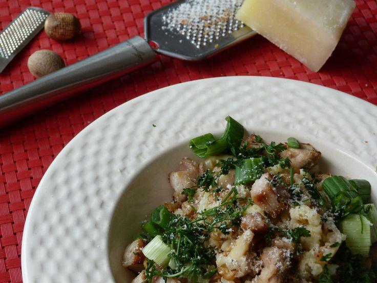 Battle Food #60 : petit épeautre façon risotto aux champignons, ciboules et porc croustillant – Le Repaire des Ventres Faims