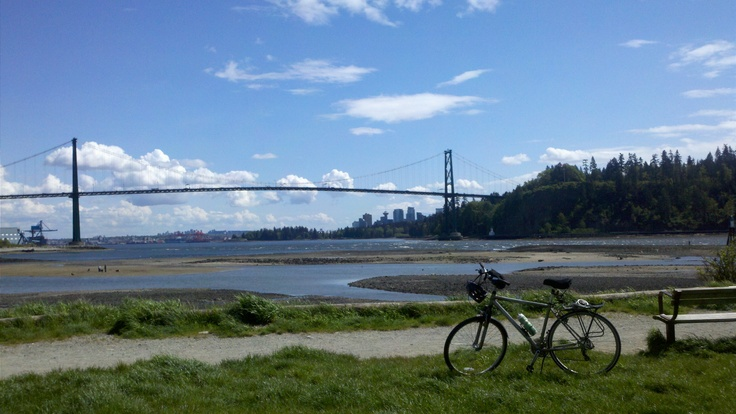 No better place to bike - Ambleside Beach looking at the entrance to Vancouver harbour, Lions gate Bridge, and Stanley Park! www.Busswood.com