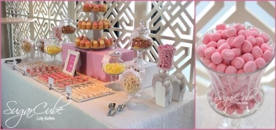 Sonia was turning 30 and wanted a lolly buffet as a thank you to her guests. Her theme was pink and white and her party was held at the fabulous Monkey Bar in Balmain. Photo by Sydney bomboniere specialists SugarCube Lolly Buffets... see more at http://sugarcube.sydney.weddingcircle.com.au
