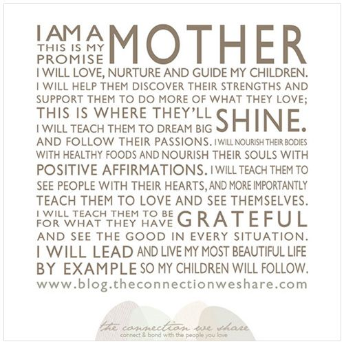 "A Mother's Manifesto | I love this. The link is great too. This part especially: ""I will let go of my own expectations and trust that I have raised them with healthy values and fundamentals that they'll make THEIR best decisions. I have to give them space to grow."""